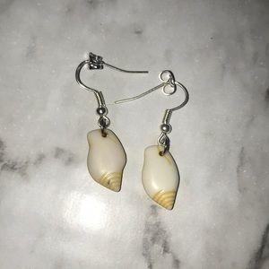 Yellow conch shell earrings